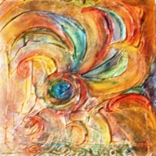 "Swirl of Change - 2009 - Mixed Media on wood panel - 12"" x 12"""