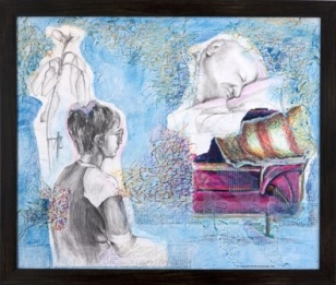 "Theo and The 99-Year-Old Man - 2010 - Mixed Media on canvas board - 20"" x 24"""