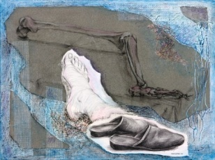 "Theo's Slippers - 2010 - Mixed Media on canvas - 20"" x 24"""