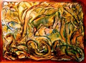"Iris Abstract - 2010 - Mixed Media on board - 9"" x 12"""