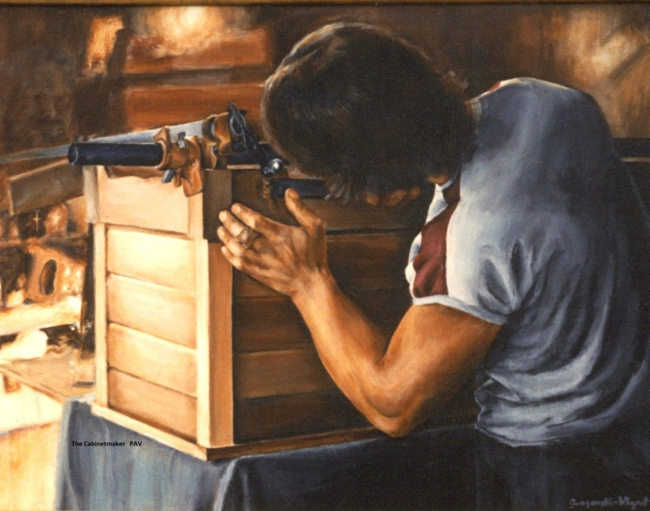 "The Cabinetmaker - 1984 - Acrylic on canvas - 24"" x 36"""