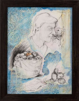 "Hank's Farmers' Market - 2010 - Mixed Media Collage on canvas board - 12"" x 16"""