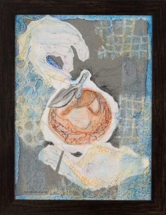 "Hank's Gift to Mrs Jacob - 2010 - Mixed Media Collage on canvas board - 12"" x 16"""