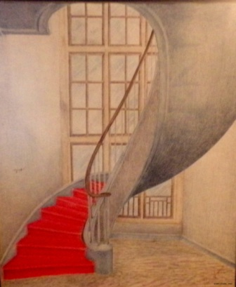 "Scary Stairs - 1980 - Coloured Pencils on paper - 18"" x 24"""