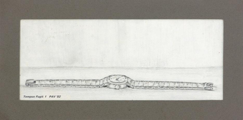 """Tempus Fugit_1 - 1982 - Pencil on paper - 4"""" x 10"""""""