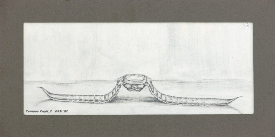 "Tempus Fugit_2 - 1982 - Pencil on paper - 4"" x 10"""