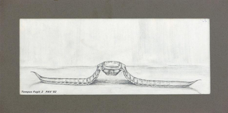 """Tempus Fugit_2 - 1982 - Pencil on paper - 4"""" x 10"""""""