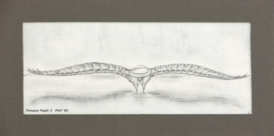 "Tempus Fugit_3 - 1982 - Pencil on paper - 4"" x 10"""