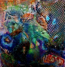 "Separateness - 2009 - Mixed Media collage on board - 12"" x 12"""