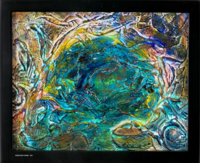 "Spider Web Tunnel - 2010 - Mixed Media on board - 9"" x 11"""