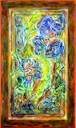 "Iris Abstract II - 2010 - Mixed media on upcycled MDF door - 17"" x 28"""
