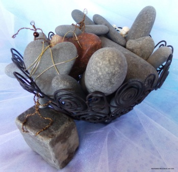 Restrained Pre-Stain VII - Rocks, wire basket and skeleton (found objects), along with original wire people