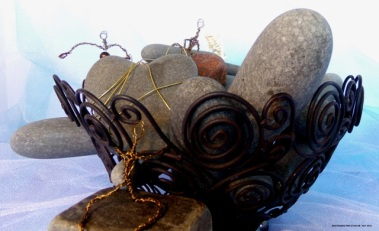 Restrained Pre-Stain VIII - Rocks, wire basket and skeleton (found objects), along with original wire people